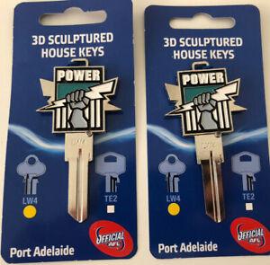 2 x AFL Port Adelaide Power Football Club 3D Sculptured House Keys LW4