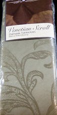 Damask Tablecloth Venetian Scroll Loden Green Assorted Sizes 100% Polyester
