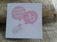 Personalised Birthday card pink balloons 30th 40th 50th 60th any Friend Mum Nan