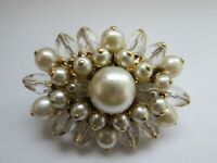 Vintage Faux Pearl Faceted Clear Glass Beaded Flower Burst Gold Tone Brooch Pin