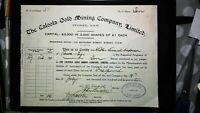 Scrip Australia 1917 - The Caloola Gold Mining Company, Sydney. 10 Shares