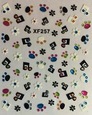 Nail Art 3D Decal Stickers Music Note Paw Prints Flower XF257
