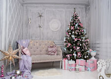 10x8FT Vinyl Christmas Room Star Xmas Tree Gift Studio Backdrop Photo Background