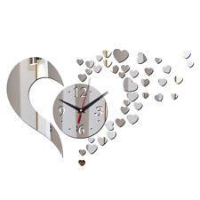 Neu DIY Love Herz Uhr Wandaufkleber Wanduhr Spiegel 3D Wandtattoo DIY