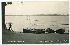 Swimmers at Bathing Beach Worthington Minnesota    RPPC real photo Postcard