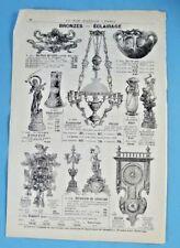 1905 Ancienne Publicité Gravure Modes Bronze Éclairage Vase Cristal Statuette