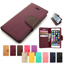 Card Slot Kickstand Slim Flip Leather Wallet Case Cover w/Silicone For iPhone