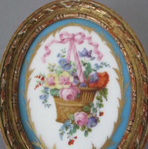 """Antique French HP Porcelain 5"""" Plaque BASKET of ROSES Pink BOW * GILT Wood Frame"""