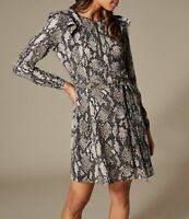 Karen Millen Snakeskin Print Ruffle Dress UK Size 16