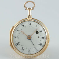 Einzigartige Julien Le Roy Paris 1740 20k Gold Spindeluhr ¼ Repetition & Datum