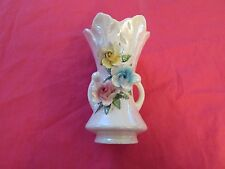 "4.5"" 2 HANDLED WHITE VASE-RAISED/TEXTURED FLOWERS-MARKED ""PR139B MADE IN JAPAN"""