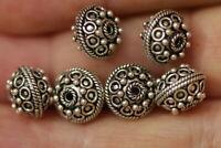 6 Wonderful Sterling Silver Bali Grandulated Beads 10x8 mm 10 grs