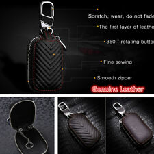 Universal Black Genuine Real Leather Car Key Bag Holder Auto Key Purse Key Cases