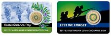 2017 $2 LEST WE FORGET'+ ''REMEBRANCE DAY'' RAM COINS,  DOWNIES CARDED combo