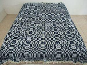 "DAMAGED TOP BORDER Vintage 2-Panel Jacquard Wool Coverlet Reversible; 86"" x 71"""