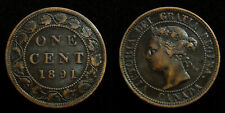Canada - Cent 1891 large date, large leaves ~ Victoria