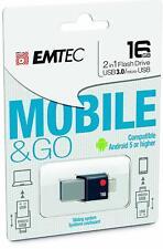 Emtec 16GB 2in1 Flash Drive Mobile & Go USB to Micro USB Smart Phone Flash Drive