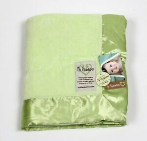 NWT My Blankee Plush Green Baby Blanket Satin Trim