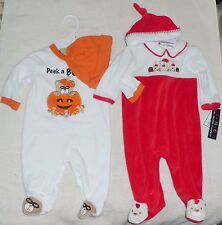 NEW 2 Sets Halloween AND Christmas 0-3 & 3-6mo Baby Clothes NWT Shower Gift Hats
