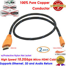 2pcs Braided Micro HDMI to HDMI For Windows Surface 3FT Visual Cable Full 1080p