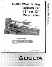 Delta 46-840 Wood Turning Duplicator for 11 & 12 Wood Lathes Instruction Manual