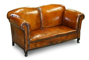 FULLY RESTORED WHISKY BROWN LEATHER DROP ARM CHAISE LOUNGE SOFA HORSE HAIR FILL