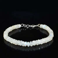 Round Shape 96.00 Cts Natural Untreated Blue Flash Moonstone Beads Bracelet (DG)