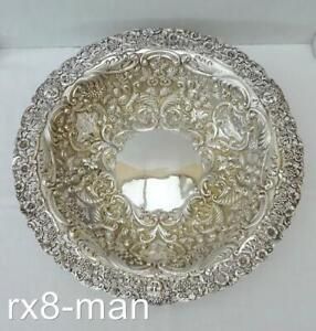 STUNNING 1900 ANTIQUE VICTORIAN SOLID STERLING SILVER LARGE FRUIT BOWL 443g