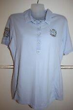 L'Argentina Poloshirt Hemd Bluse Baumwolle Damenbluse Shirt Gr. 40 42 M blau TOP