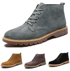 Mens Retro High Top Ankle Boots Leather Shoes Pumps British Workwear Lace up New