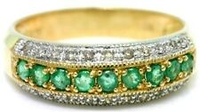 Emerald & 22 Diamond 9ct 375 Solid Gold Eternity Ring - SZ N/7 - 30 Day Refunds