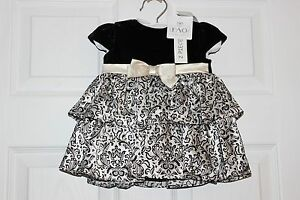 FAO Schwartz Dress NWTS 3 Months  Black Velvet top satin bottom Adorable! easter