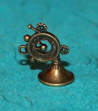 Pendant French Horn Clock Charm Steampunk Charm Bronze Time Piece Charm