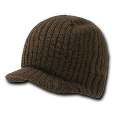 Brown Campus Knit Visor Beanie Jeep Cap Caps Hat Hats