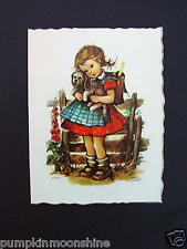 Unused Kruger B/Day Greeting Die-Cut Card Girl With Pooch ~ Printed in Germany