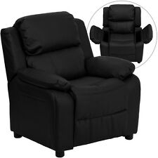 Flash Furniture Deluxe Heavily Padded Black Leather Kids Recliner W/Storage Arms