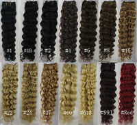 "AAA+ Remy 18""~26"" Weft Weave Human Hair Extensions Curly Deep 100gr Width 59"""