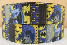 "BTY 1"" Blue Yellow *BATMAN* Grosgrain Ribbon Hair Bows Scrapbooking Crafts Lisa"