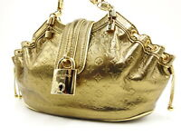 LOUIS VUITTON Theda PM Monogram Chain Shoulder Hand Bag Leather Gold M92373 2685