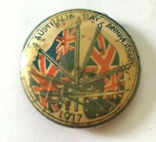 1917 World War I Era Australian Day Anniversary Pin - Wwi Era Pinback - Rare!