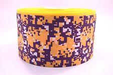 "3"" Wide Purple and DarkYellow Digital Camo Printed on Grosgrain Cheer Bow Ribbon"