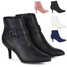Womens Low Mid Kitten Heel Ankle Boots Ladies Buckle Strap Pointed Toe Booties