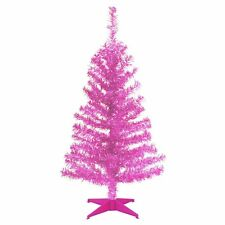 3 ft. Tinsel Unlit Full Christmas Tree, Pink