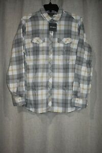 Eddie Bauer Classic Fit Plaid Field Flannel Shirt Women L Gray New NWT