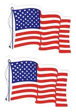 "WAVING US FLAG STICKER DECAL (2) AMERICAN FLAG 3.5"" x 2.5"" BUMPER WINDOW DOOR"
