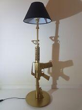 LAMPE DESIGN M4 OR (AR15 M16 chevet bureau table lamp light arme army deco gold)