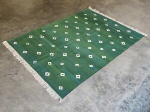 Cotton Flat Weave Rug Rag Handwoven Yoga 4'x6' Green Diamond Area Dhurrie Kilim
