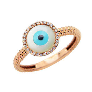 TEXTURED 14K ROSE GOLD PAVE DIAMOND MOTHER OF PEARL EVIL EYE COCKTAIL RING