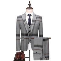 Men's Gray Plaid Tweed Suit Dinner Wedding Suit Tuxedos Party Prom Suit Custom