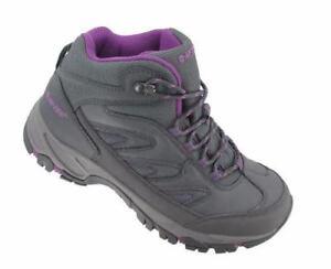 Hi-Tec Moreno WP Waterproof Scuff Cap Hiking Shoes Charcoal Gray Purple New
